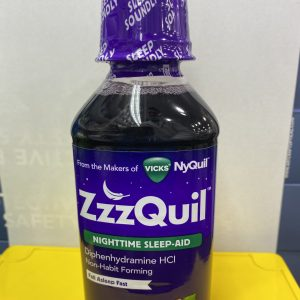 ZzzQuil Nighttime Sleep-Aid, violet bottler, white and yellow background