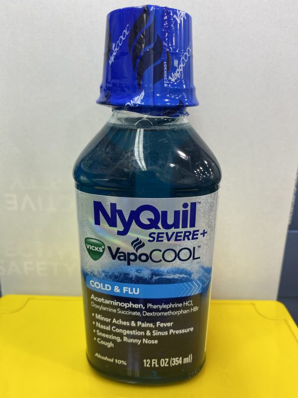 NyQuil Severe+ VapoCOOL, blue bottle, white and yellow background